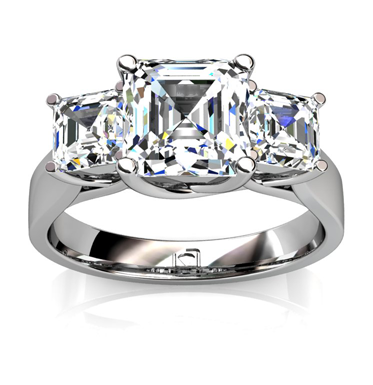 """X"" Prong Asscher Cut Engagement Ring in 14k White Gold"