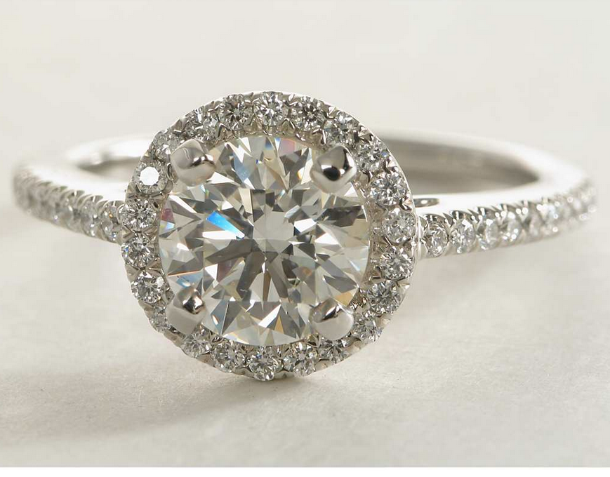 Classic Halo Pave Engagement Ring in 14k White Gold