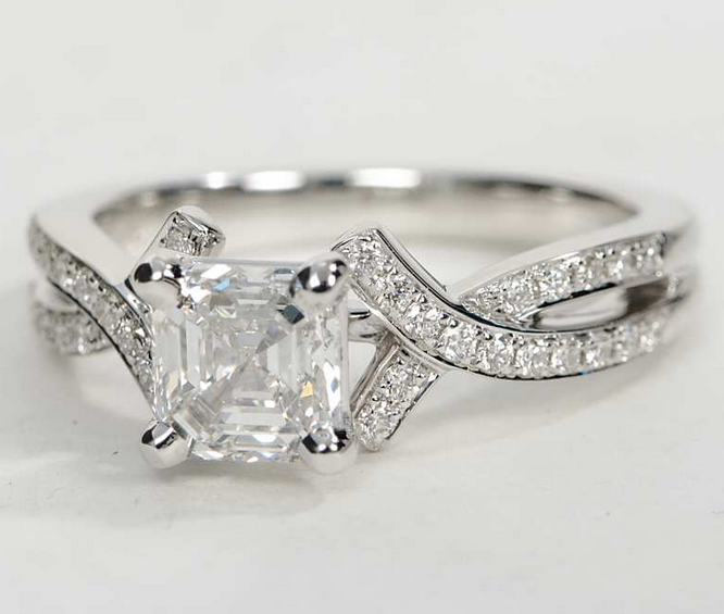 Crossover Pave Engagement Ring in 18k White Gold