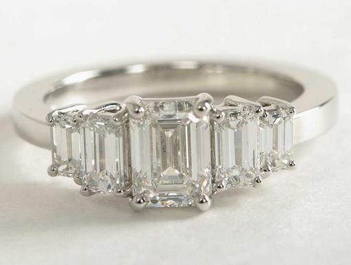 Four Stone Emerald Cut Engagement Ring in Platinum