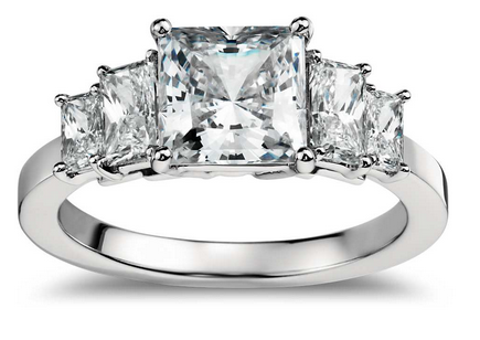 Four Stone Princess Cut Diamond Engagement Ring in Platinum