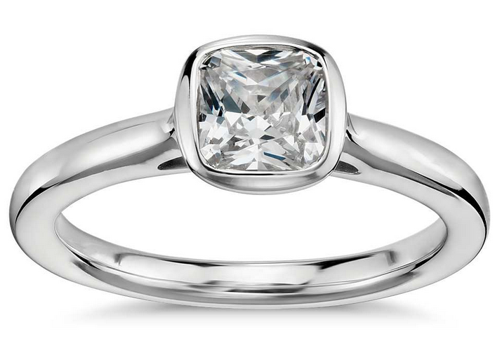 Framed Cushion-Cut Solitaire Engagement Ring in Platinum