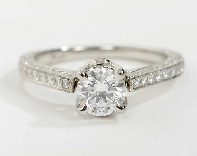 Monique Lhuillier Cathedral Pave Engagement Ring in Platinum