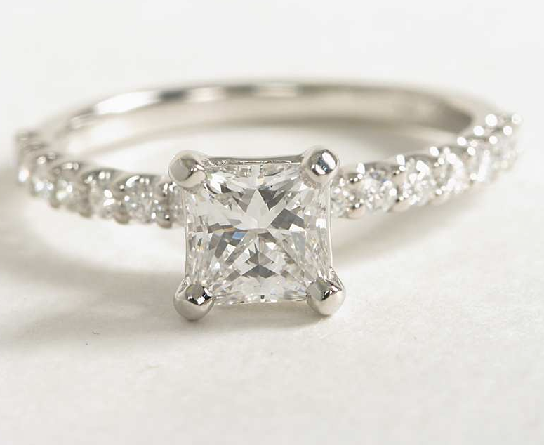 Sidestone-Studded Engagement Ring in Platinum