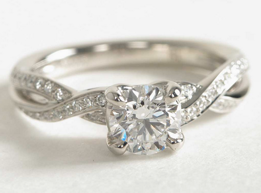 Twist Pavé Engagement Ring in Platinum