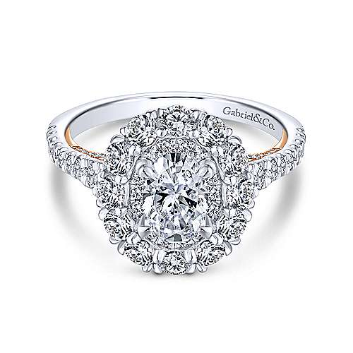 Astonishing 14K White-Rose Gold Oval Double Halo Diamond Engagement Ring