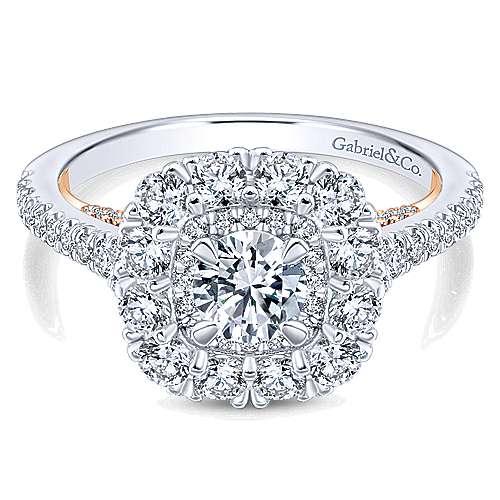 Beautiful 14K White-Rose Gold Round Diamond Engagement Ring
