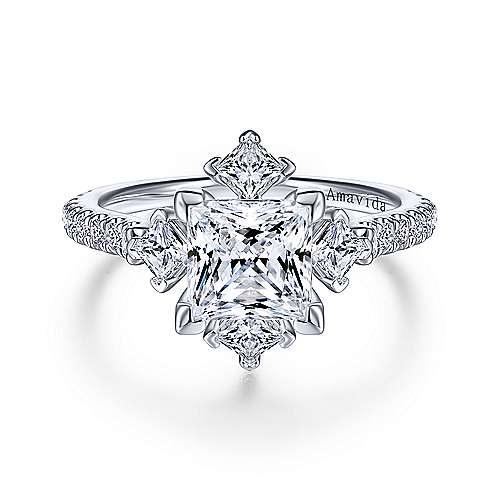 Angelic 18K White Gold Princess Cut Diamond Engagement Ring