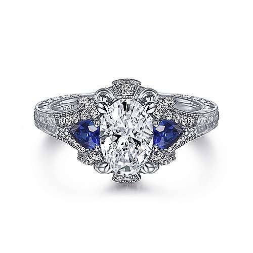 Astonishing 14K White Gold Oval Sapphire and Diamond Engagement Ring