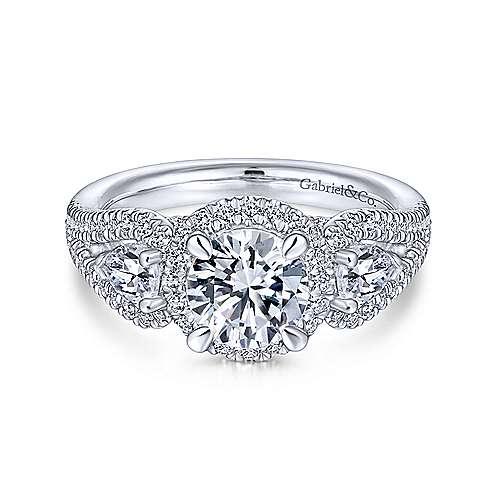 Beautiful Angelic 14K White Gold Round Halo Diamond Engagement Ring