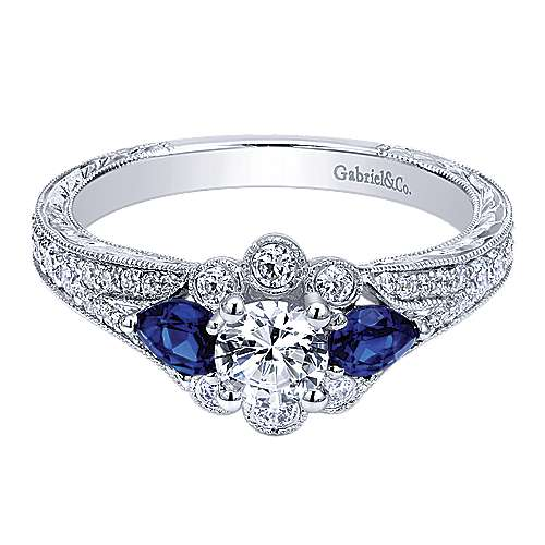 Classically Inspired 14K White Gold Round Halo Sapphire and Diamond Engagement Ring