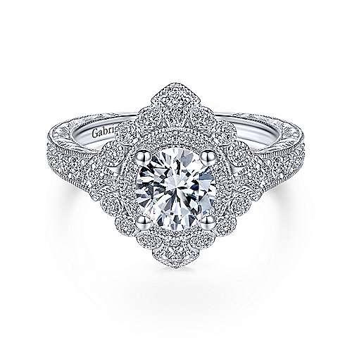 Art Deco 14K White Gold Double Halo Engagement Ring