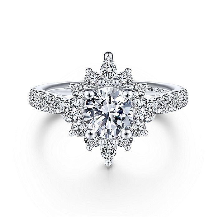 Beautiful 14K White Gold Halo Diamond Engagement Ring