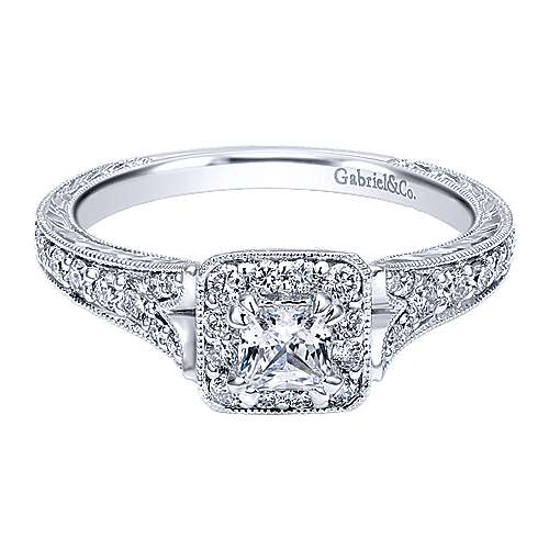 Classically Inspired 14K White Gold Princess Halo Diamond Engagement Ring
